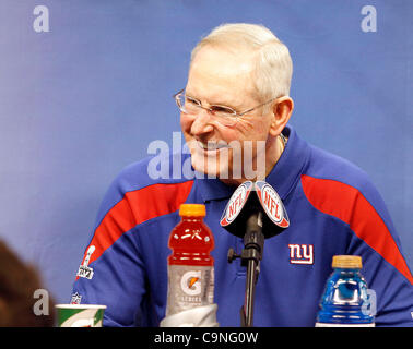 New York's head coach Tom Caughlin answers questions during the Super Bowl XLVI media day in Lucas Oil Stadium. - Stock Photo
