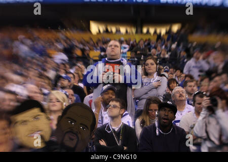 Spectators were allowed into Lucas Oil Stadium for the first time during media day for Super Bowl XLVI on Tuesday - Stock Photo