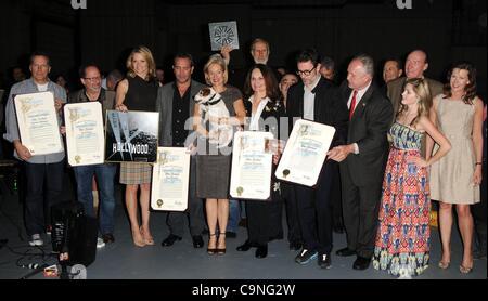Missi Pyle, James Cromwell, Jean Dujardin, Penelope Ann Miller , Michel Hazanavicius at a public appearance for - Stock Photo
