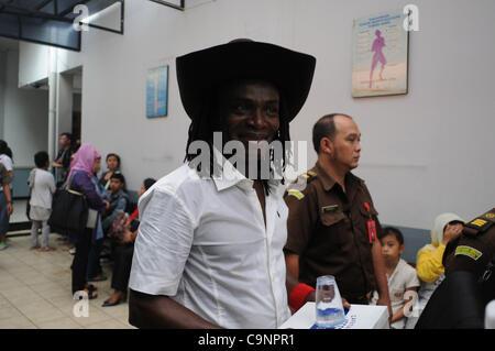 Feb. 1, 2012 - Jakarta, Indonesia - A Mozambique  citizen, ATALIAT JOSES GUAMBE   the defendant smuggler of Methamfetamine - Stock Photo