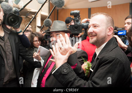 Villejuif, (Paris) France, Male Gay Couple Getting Married in First (Symbolic, because not legal), Gay Marriage - Stock Photo