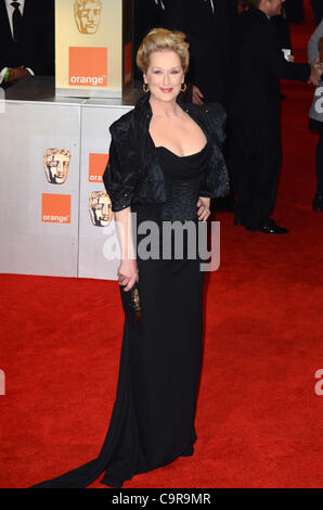 London, United Kingdom 12/02/2012 Meryl Streep attends the Orange British Academy Film Awards 2012 at The Royal - Stock Photo