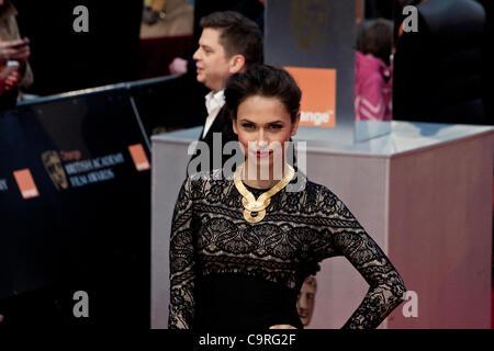 London, UK, 12/02/2012. Alycia Lane arrives on the red carpet for the BAFTA Awards 2012 - Stock Photo