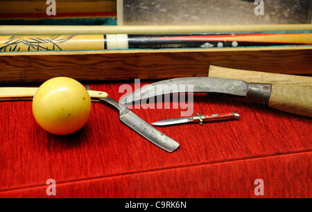 Feb. 13, 2012 - Las Vegas, Nevada, USA -  Weapons associated with organized crime are displayed at The Mob Museum - Stock Photo