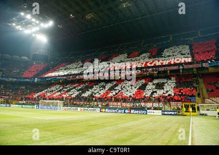 Milan fans, FEBRUARY 15, 2012 - Football / Soccer : UEFA Champions League Round of 16, 1st leg match between AC - Stock Photo