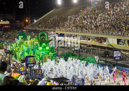 Rio de Janeiro, Brazil, 19th February 2012 - Samba schoolInnocent of Belford Roxo from the access group in his presentation parade in Sambodromo, on the first day of Rio de Janeiro famous carnival.