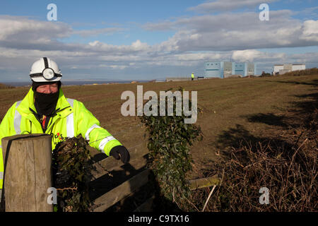 Anti nuclear protest at Hinkley Point north Somerset . Protesters have occupied a  farmhouse as A Group 4 private - Stock Photo