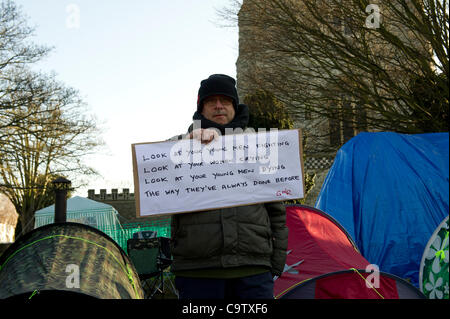21st February 2012. Occupy Southend has set up its camp in the grounds of St.Mary's Church near the town centre. - Stock Photo