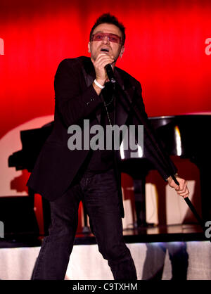 Feb. 20, 2012 - Las Vegas, NV, USA - Pavel Sfera performs as Bono at the 21st Annual Reel Awards, which recognize - Stock Photo