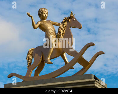 'Powerless Structures, Fig. 101' nicknamed 'Golden Boy' by Michael Elmgreen & Ingar Dragset, Trafalgar square's - Stock Photo