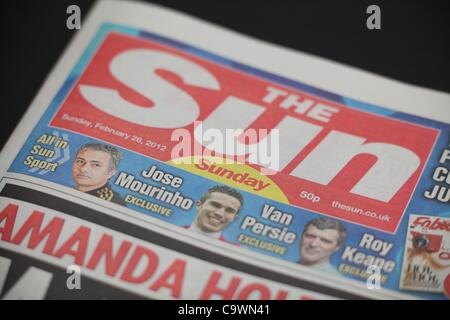 The first edition of The Sun on Sunday Newspaper. 26 February 2012.  Picture by James Boardman. - Stock Photo