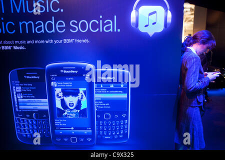 Blackberry at Mobile World Congress in Barcelona 2012, Catalonia, Spain - Stock Photo