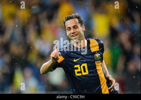 Feb. 29, 2012 - Melbourne, Victoria, Australia - Alex BROSQUE (20) of Australia celebrates his goal during the FIFA - Stock Photo