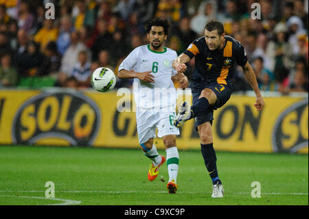 Feb. 29, 2012 - Melbourne, Victoria, Australia - Brett EMERTON (7) of Australia kicks the ball during the FIFA 2014 - Stock Photo