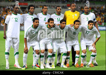 Feb. 29, 2012 - Melbourne, Victoria, Australia - The Saudi Arabia team pose for a photo during the FIFA 2014 World - Stock Photo