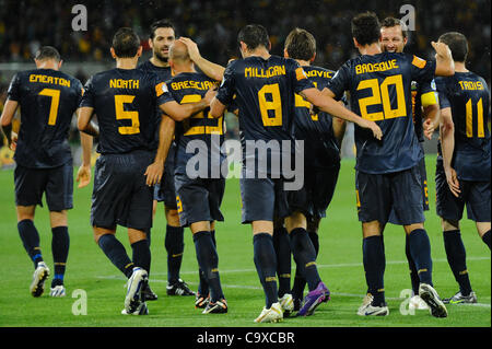 Feb. 29, 2012 - Melbourne, Victoria, Australia - The Australian team celebrate a goal during the FIFA 2014 World - Stock Photo
