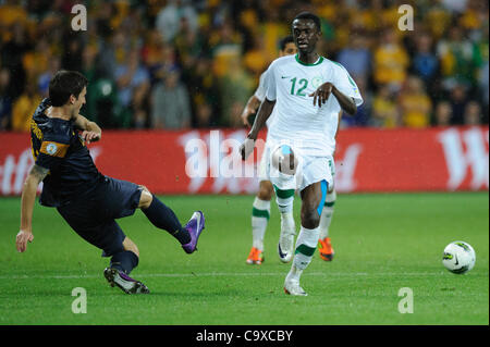 Feb. 29, 2012 - Melbourne, Victoria, Australia - Matthew SPIRANOVIC (4) of Australia kicks the ball during the FIFA - Stock Photo