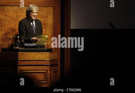 British playwright Sir Tom Stoppard speaks during the remembrance evening for the late Czech president Vaclav Havel - Stock Photo