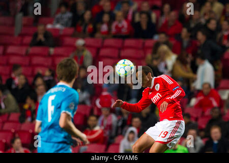 23 February 2012 - Lisbon, Portugal -  Rodrigo SL Benfica Forward (R) and  Nicolas Lombaerts FC Zenit Defender (L) - Stock Photo