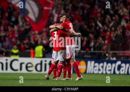 6 March 2012 - Lisbon, Portugal -  Benfica players celebrating their victory by 2-0 that puts them in the quarter - Stock Photo