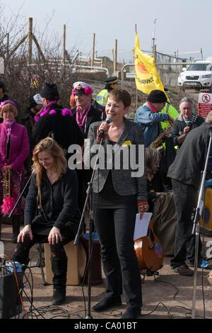 Caroline Lucas talks to Anti Nuclear  power Protesters at a march against the building of  Hinkley C power station, - Stock Photo