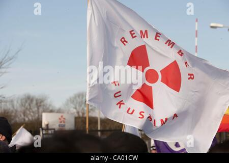 Protesters at a march against the building of  Hinkley C power station, Somerset  and the UK government's choice - Stock Photo