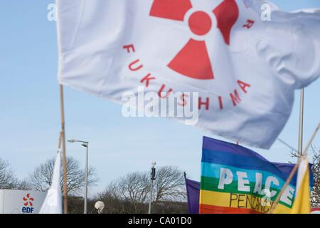 Remember Fukushima flags held by protesters at a march against the building of  Hinkley C power station, Somerset - Stock Photo