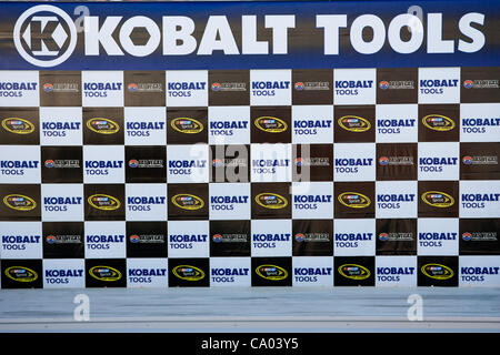 March 11, 2012 - Las Vegas, Nevada, U.S - The background for Victory Lane in the garage area at the NASCAR Sprint - Stock Photo