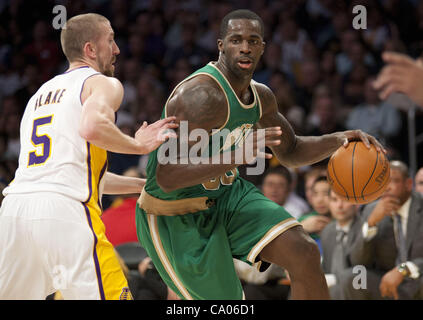 March 11, 2012 - Los Angeles, California, U.S - of the Los Angeles Lakers warms up   prior to facing the Boston - Stock Photo