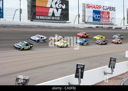 March 11, 2012 - Las Vegas, Nevada, U.S - Carl Edwards, driver of the #99 Aflac Ford Fusion, leads the pack out - Stock Photo