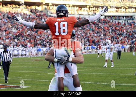 Jan. 6, 2012 - Charlottesville, Virginia, United States - Wide receiver Kris Burd (18) and tight end Colter Phillips - Stock Photo