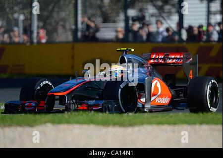 March 17, 2012 - Melbourne, Victoria, Australia - Lewis Hamilton of the Vodafone McLaren Mercedes Team qualifying - Stock Photo