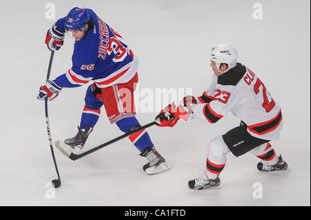 Mar. 19, 2012 - New York, New York, U.S - New York Rangers right wing Mats Zuccarello (36) takes a shot on goal - Stock Photo