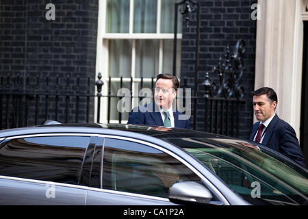 Downing Street, London, UK. 21.03.2012 Picture shows UK Prime Minister David Cameron,  leaving Downing Street ahead - Stock Photo