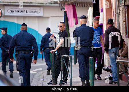 Toulouse, France. 28.03.2012 Picture shows French Police patrolling the streets in the centre of Toulouse, South - Stock Photo