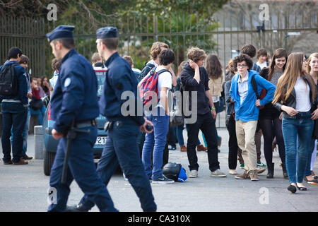 Toulouse, France. 28.03.2012 Picture shows French Police patrolling the streets outside the Lycée Ozenne high school, - Stock Photo