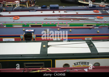 1st June, 2012. Canary Wharf London, UK. Flotilla boats and barges used in the evacuation of Dunkirk are moored - Stock Photo