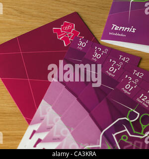 The London Olympic Games 2012 2nd June, 2012. London Olympic Games tickets arrive at UK households by secure delivery - Stock Photo