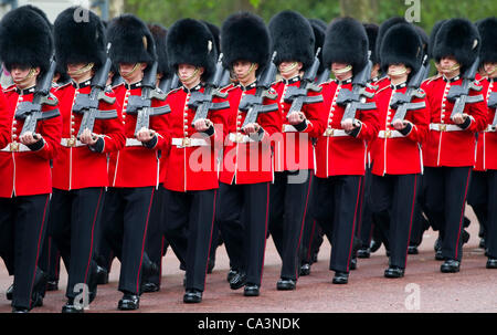 Grenadier Guards march to Trooping the Colour Major General's Review on Horse Guards Parade, The Mall, London, England, - Stock Photo