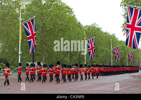 Soldiers from the Household Division march to the Trooping the Colour Major General's Review on Horse Guards Parade, - Stock Photo