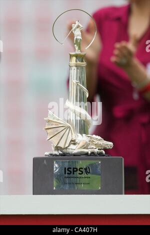 03.06.2012 Newport Wales. The ISPS Handa Wales Open Winner's Trophy on display at Celtic Manor course - Stock Photo