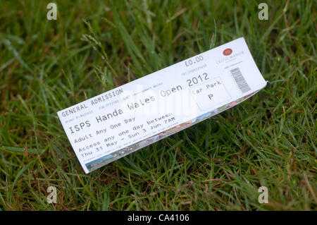 3rd June 2012 - Celtic Manor Resort - Newport - South Wales - UK :   Ticket for the  ISPS Handa Wales Open Golf - Stock Photo