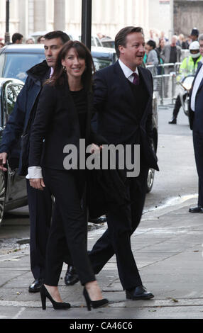London, UK. June 4, 2012. Prime Minister David Cameron and his wife Samantha arrive at Buckingham Palace for the Concert to celebrate The Queen's Diamond Jubilee.