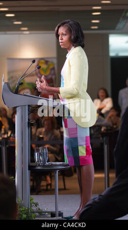 U.S. First Lady Michelle Obama speaks during a Magic of Healthy Living event with Robert Iger, chairman and chief - Stock Photo