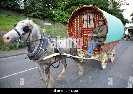 Wednesday 6th June 2012 at Appleby, Cumbria, England, UK. Horse drawn bow-top wagons arrive from all over the UK - Stock Photo
