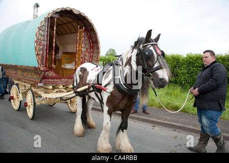 Thursday 7th June 2012 at Appleby, Cumbria, England, UK. Horse drawn bow-top wagons arrive from all over the UK - Stock Photo