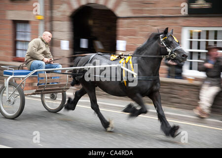 Thursday 7th June 2012 at Appleby, Cumbria, England, UK. A man with   a horse and cart trots along The Sands (the - Stock Photo