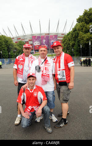 08.06. 2012 Warsaw, Poland. Polish fans stands in front of National Stadium in Warsaw on friday morning, few hours - Stock Photo