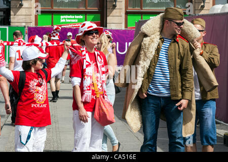 Wroclaw, Poland. Friday 8th June 2012. The Polish fans in Fanzone before the Czech Republic Vs Russia game for Euro - Stock Photo