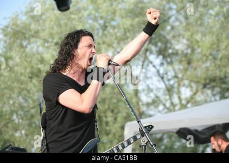 ZAGREB, CROATIA, June 8 2012. Joe Duplantier (guitar, vocals) of the band Gojira performing at Rokaj (trans: Rock!) - Stock Photo